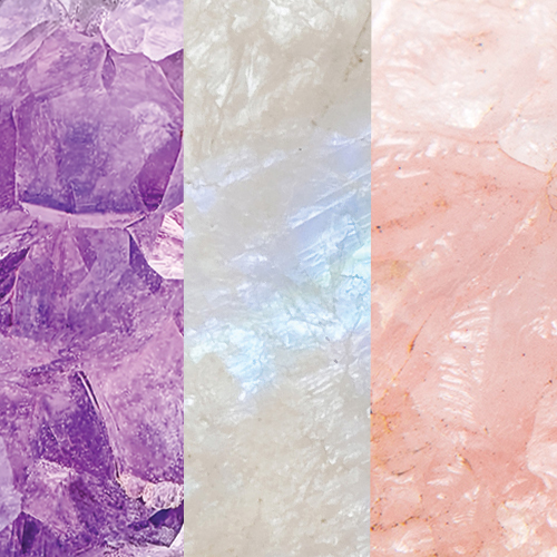 Amethyst – Rainbow Monstone – Rose Quartz
